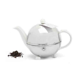 Porcelain teapot with stainless steel infuser basket and thermal cover 500 cc