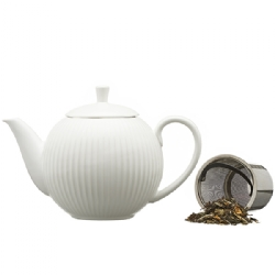 Pottery striped teapot (900 cc) with s/steel filter – White pastel