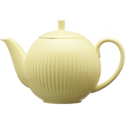 Pottery striped teapot (900 cc) with s/steel filter – Yellow pastel