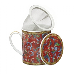 Porcelain herb Red Cashmere pattern tea mug (200 cc) La Via del Tè