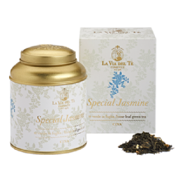 Chinese green tea, Jasmine flowers Special Jasmine Le Grandi Origini Collection in 100 grams tin