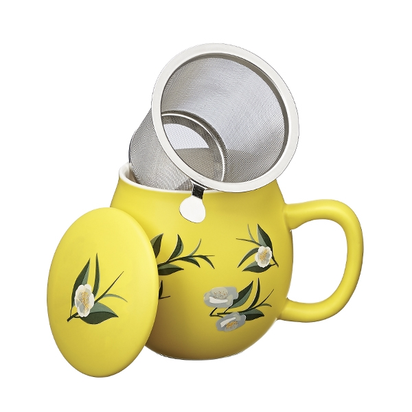 Ventagli Camilla Tea mug with lid and stainless steel infuser, 0,35 lt, Matt Yellow