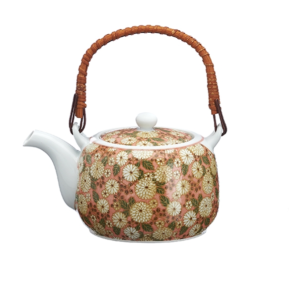 Porcelain Japanese Teapot (580 cc) bamboo handle and inox strainer