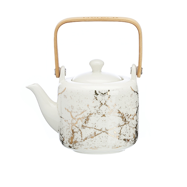 Pottery vintage teapot (500 cc) with s/steel filter – Golden Details La Via del Tè