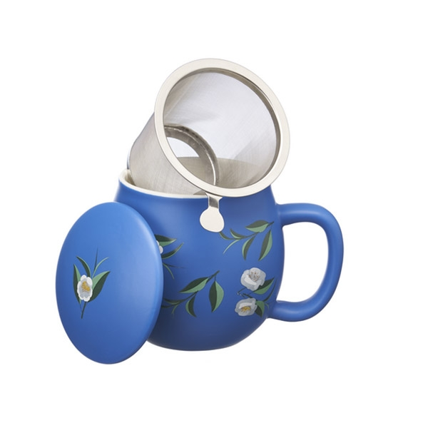 Tea mug with lid and stainless steel infuser, 0,35 lt, Matt Classic Blue