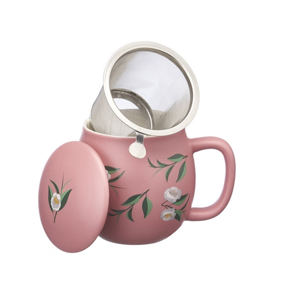 Tea mug with lid and stainless steel infuser, 0,35 lt, Matt Pastel Pink