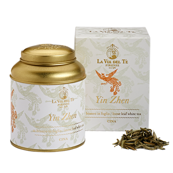 Chinese white tea loose leaf tea Le Grandi Origini collection Yin Zhen in 50 grams tin