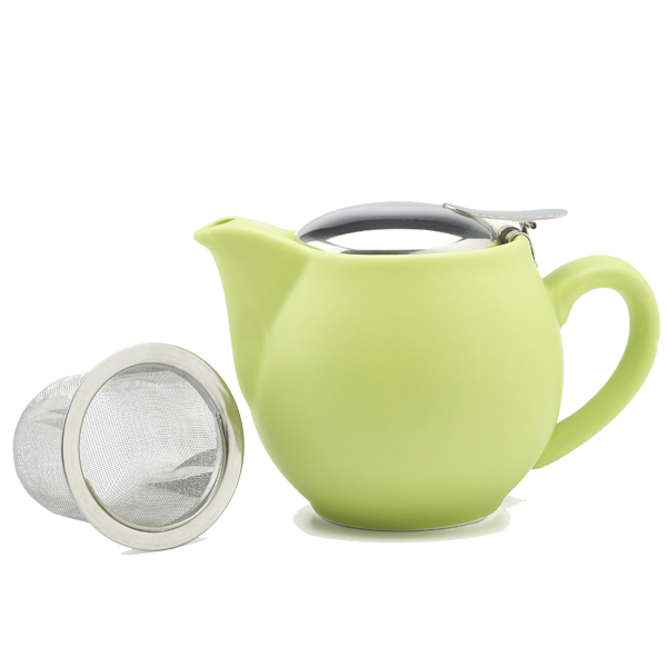 Porcelain teapot (350 cc) with s/steel lid and strainer Matt Shoot Green